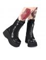 Black Gothic Punk Rivet Zipper Platform Mid-Calf Boots for Women