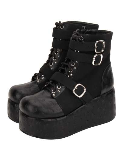 Black Gothic Punk Skull Platform Mid-Calf Boots for Women
