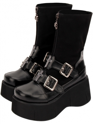 Black Gothic Punk Cross Platform Mid-Calf Boots for Women