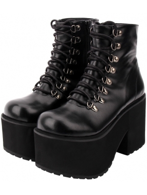 Black Gothic Punk Lace-up Platform Mid-Calf Boots for Women