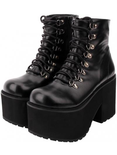 Black Gothic Punk Lace-up Platform Mid-Calf Boots for Women