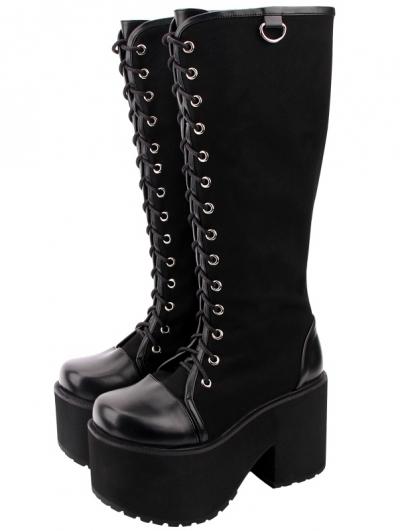 Black Gothic Punk Lace Up Knee Platform Boots for Women