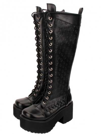 Black Gothic Punk Skull Lace Up Knee Platform Boots for Women