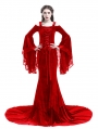 Red Romantic Off-the-Shoulder Gothic Medieval Two Pieces Dress