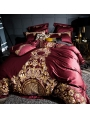 Red Luxurious Vintage Embroidery Comforter Set