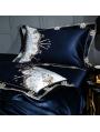Blue Luxurious Vintage Embroidery Comforter Set