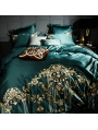 Green Luxurious Vintage Embroidery Comforter Set