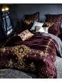 Purple Luxurious Vintage Embroidery Comforter Set