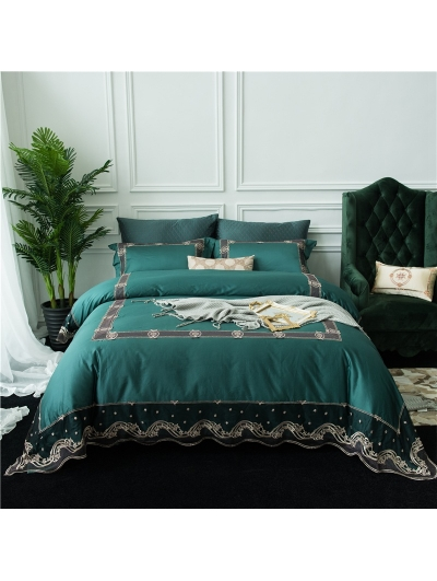 Green Vintage Lace Embroidery Comforter Set