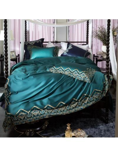Green Vintage Embroidery Comforter Set