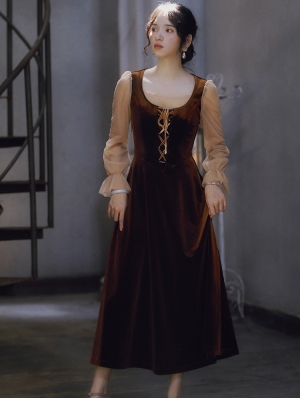 Brown Vintage Long Sleeve Medieval Inspired Long Dress
