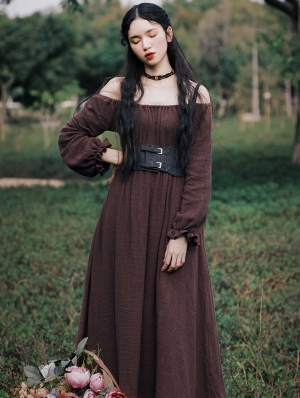 Brown Long Sleeve Vintage Medieval Inspired Long Dress with Belt
