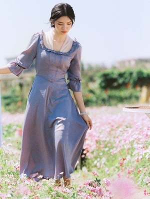 Blue Vintage Short Sleeve Medieval Inspired Long Dress