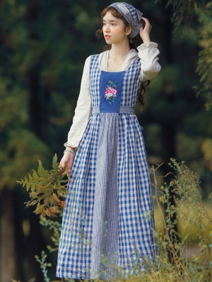 Vintage Plaid and flower Medieval Inspired Long Dress
