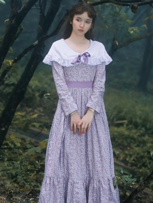 Purple Vintage Long Sleeve Floral Medieval Inspired Long Dress