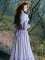 Purple Vintage Long Sleeve Floral Medieval Inspired Long Dress