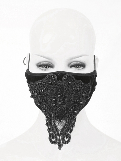 Black Gothic Lace Beading Mask for Women