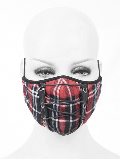 Red and Black Gothic Punk Mask for Women