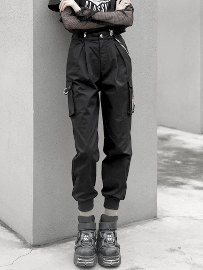 Black Street Fashion Gothic Punk Belt Overalls Pants for Women