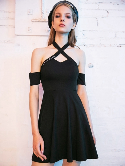Black Gothic Off-the-Shoulder Summer Sexy Short Dress with Detachable Sleeves