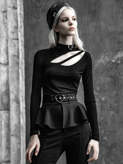 Black Street Fashion Gothic Hollow-out Long Sleeve T-Shirt for Women