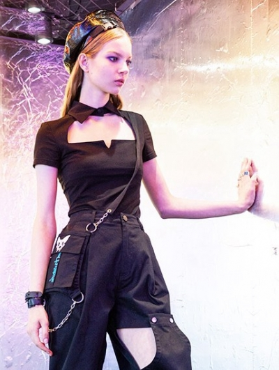Black Street Fashion Gothic Hollow-out Short T-Shirt for Women