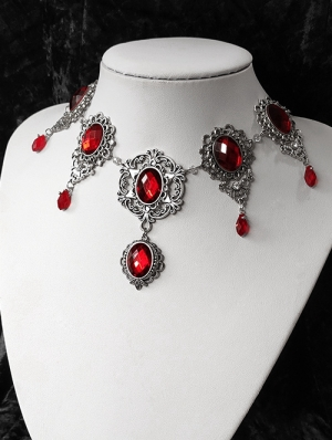 Vintage Gothic Red Pendant Necklace