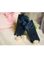 Navy Blue Bead Bow Lolita Gloves