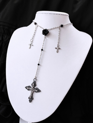Vintage Gothic Cross Flower Necklace