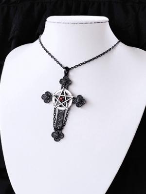 Vintage Gothic Cross Pentagram Necklace