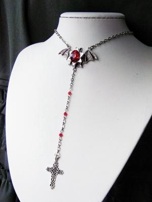 Gothic Cross Bat Pendant Necklace