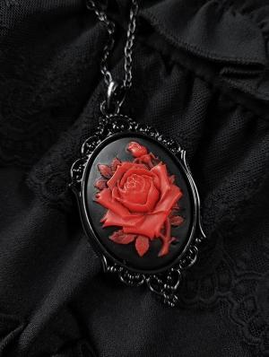 Black Vintage Gothic Red Flower Pendant Necklace