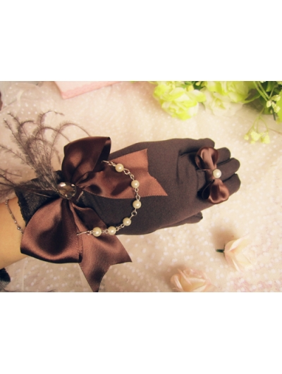 Brown Feather Bow Lolita Gloves