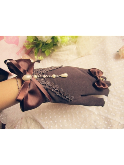 Brown Lace Bow Beading Lolita Gloves