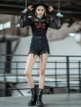 Black Street Fashion Gothic Punk Embroidery Shorts for Women