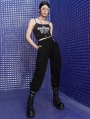 Black Street Fashion Gothic Punk Overalls Pants for Women
