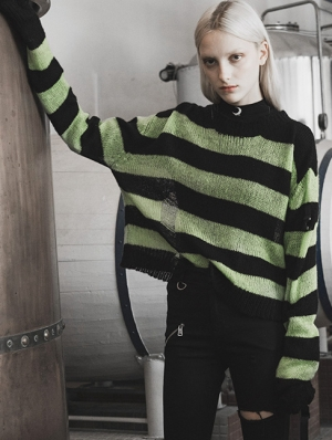 Green and Black Street Fashion Gothic Stripe Loose Sweater