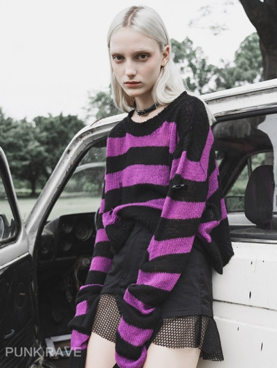Purple and Black Street Fashion Gothic Stripe Loose Sweater