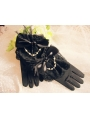 Black Feather Bow Gothic Gloves