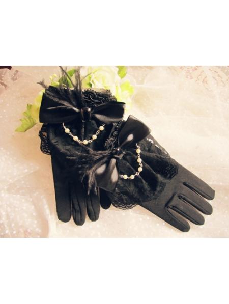 black feather bow gothic gloves devilnightcouk