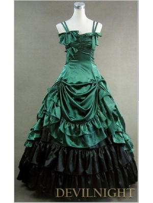 Luxuriant Green and Black Sleeveless Gothic Masquerade Victorian Dress