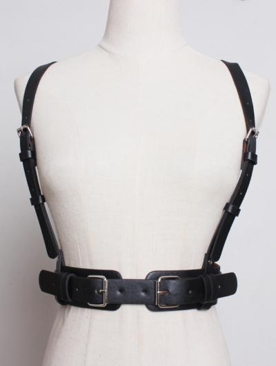 Black Gothic Punk PU LeatherBuckle Belt Harness