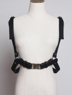 Black Gothic Punk PU Leather Belt Harness