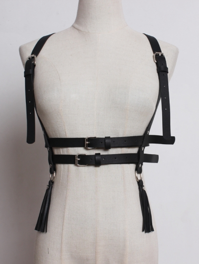 Black Gothic Punk PU Leather Tassel Buckle Belt Harness