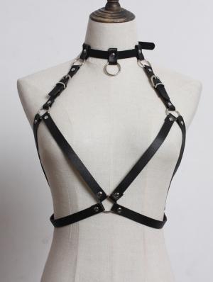 Black Gothic Punk PU Leather Body Bondage Buckle Belt Harness