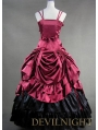 Luxuriant Black and Red Sleeveless Gothic Masquerade Victorian Dress