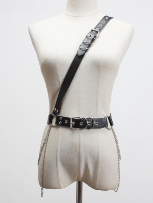Black Gothic Punk PU Leather One-Shoulder Chain Buckle Belt Harness