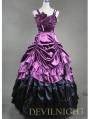 Purple and Black Pick-up Skirt Gothic Masquerade Victorian Dress