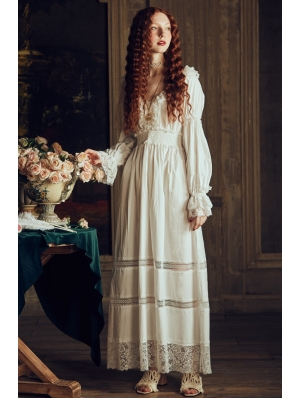 White Vintage Fancy Medieval Underwear Chemise Long Dress