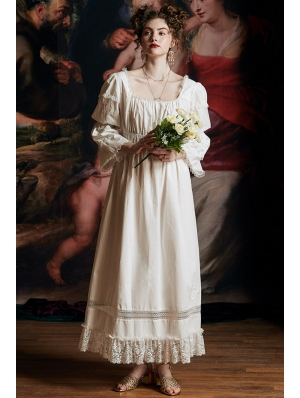 White Vintage Sweet Medieval Underwear Chemise Long Dress